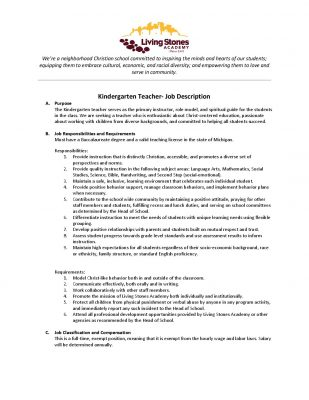 Living Stones AcademyKindergarten Teacher Job Description  Living